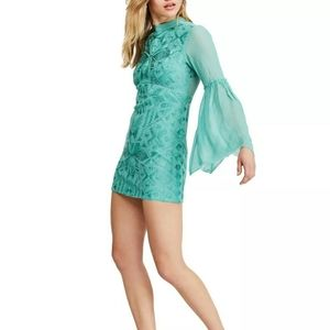 Free people sheer embroidered cleo mini dress